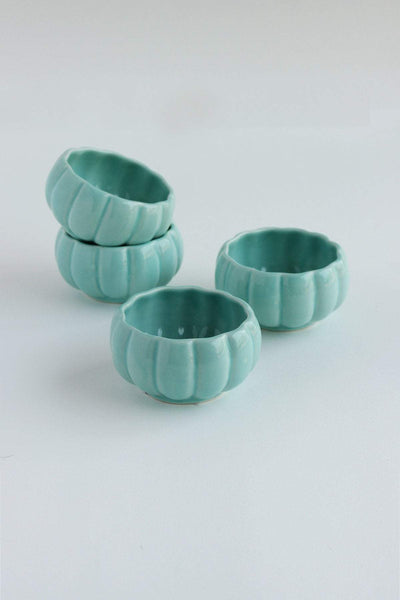 A Set Of 2 Ceramic Katori In Mint Shade And Handcrafted Design