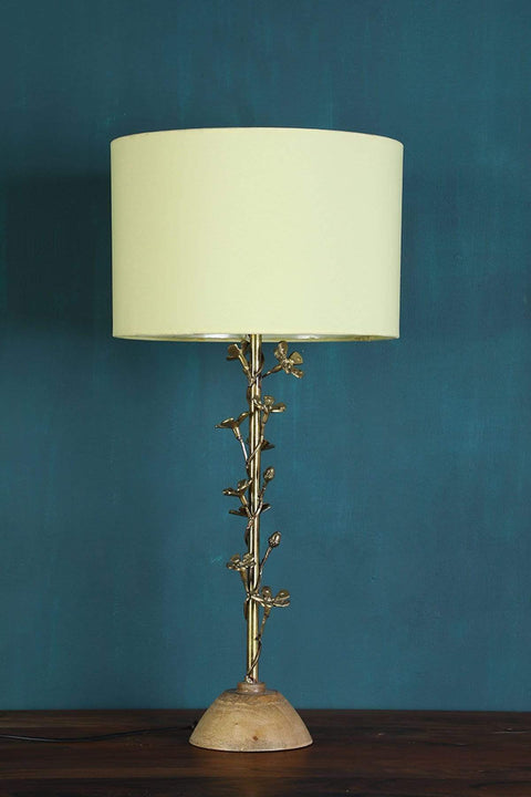 Wood & Metal Table Lamp In Gold Shade And Handcrafted Style