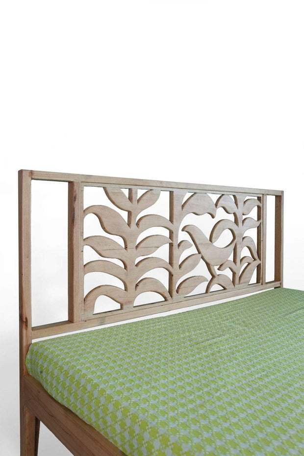 A Queen Beechwood Bed In Natural Color And Handcrafted Carved Design