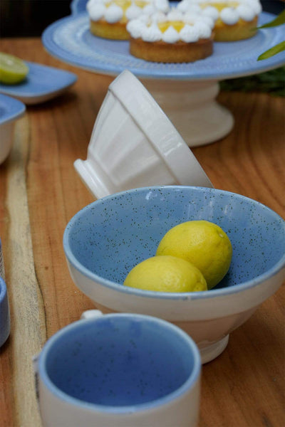 A Set Of 2 Ceramic Ribbed Bowl In Blue Speckle/Opg White Shade