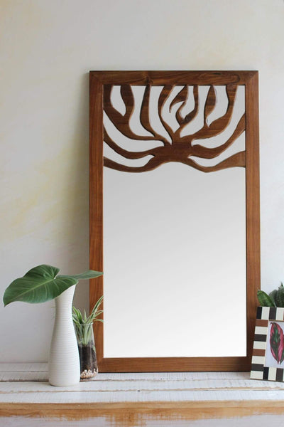 A Small Teak Wood Mirror And Handcrafted Natural Wood Style