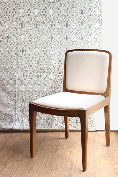 Cotton Duck Upholstery Fabric In Beige Shade And Screen Printed Geometric Design