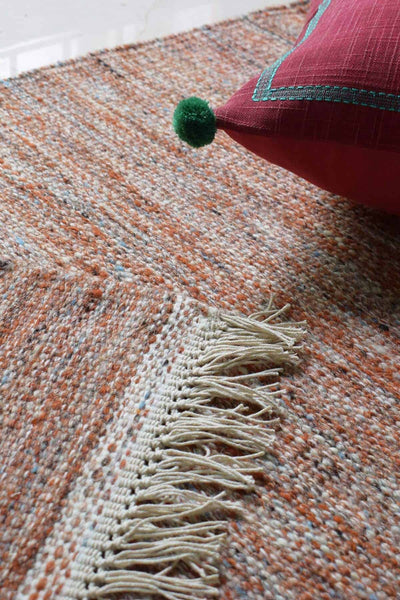 Woven Cotton Woven Rug In Rust Shade