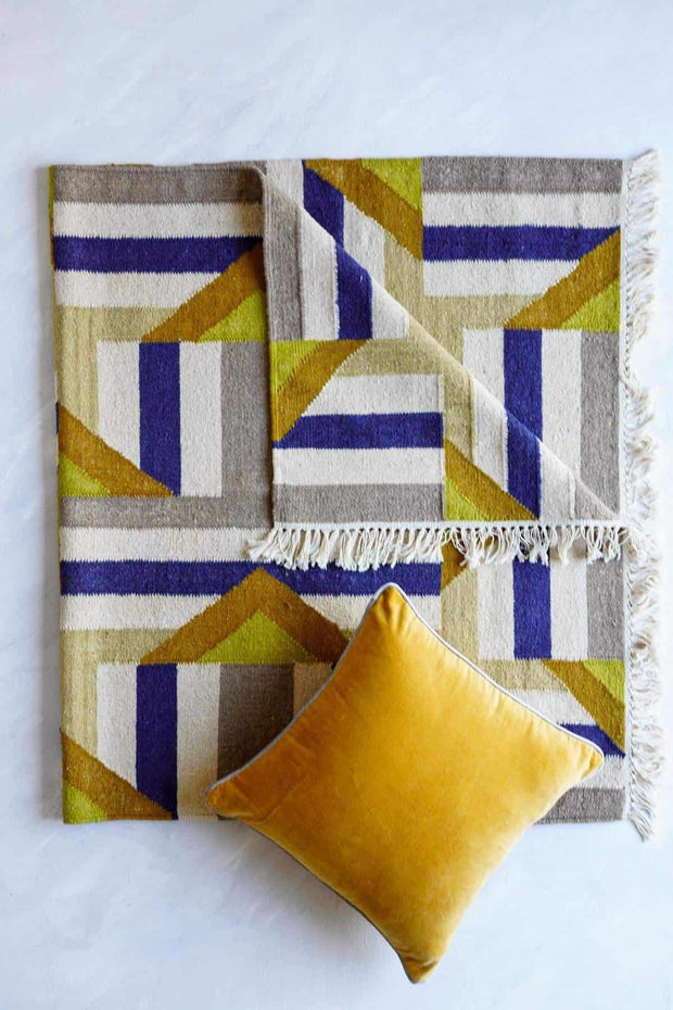 Buy Geometric Woven Rug (Multi-Colored) Online | Freedomtree.in