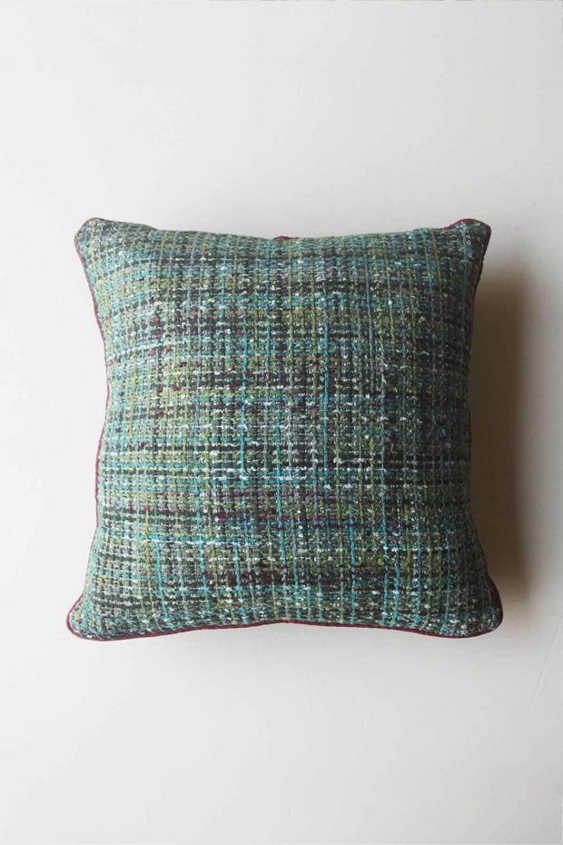 Cotton & Viscose Cushion Cover In Green/Maroon Color And Woven Textured Design