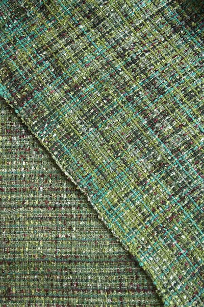 Cotton & Viscose Tweed Upholstery In Green/Maroon Color And Woven Textured Style