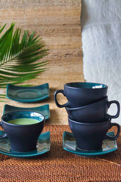 Green Fields Cup And Saucer (Set of 4)