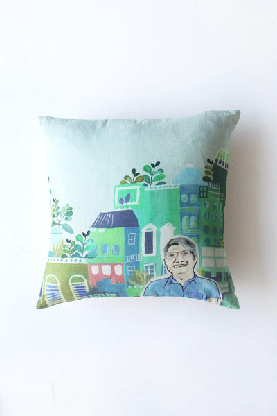 Cotton Flex Cushion Cover In Green Color And Handcrafted Design