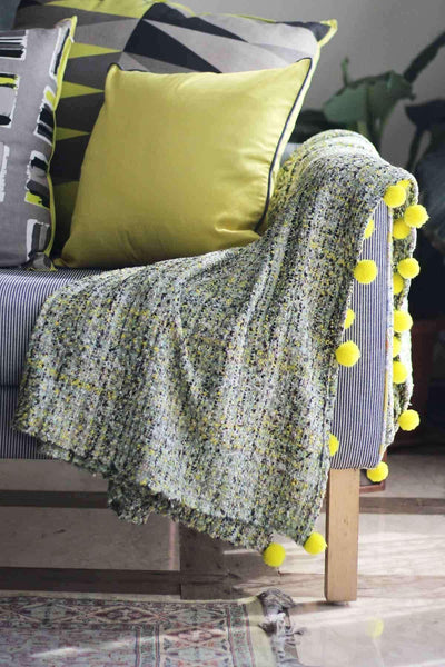 Cotton & Viscose Throw In Green Color And Woven Textured Design