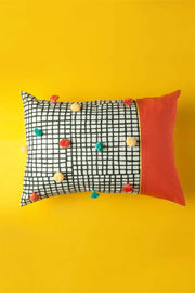 Cotton Sheeting Cushion Cover In Black/Yellow Color And Screen Printed Geometric Design