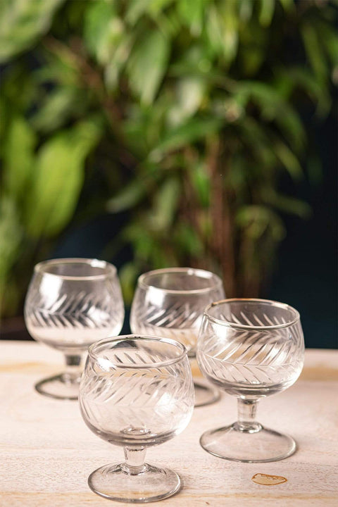 Buy Groove Cutwork Wine Glass (Set Of 4) Online | Freedomtree.in