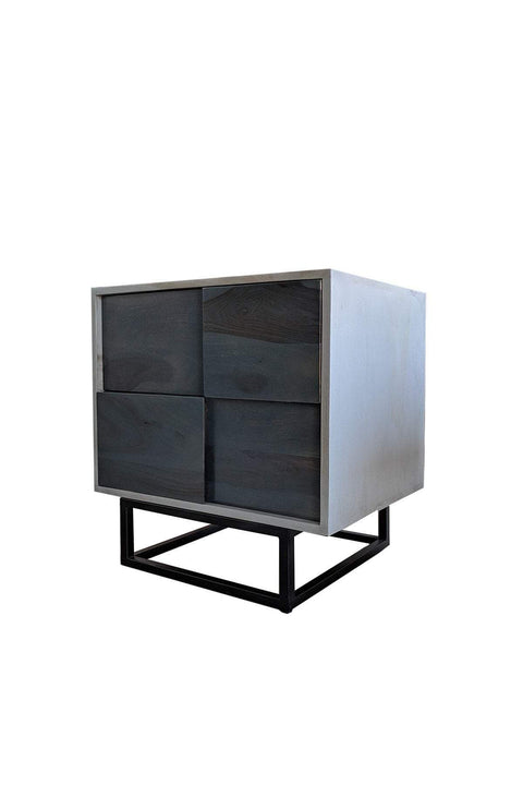 Wood & Metal Bedside Table In Grey Shade And Handcrafted Asian Minimalist Design