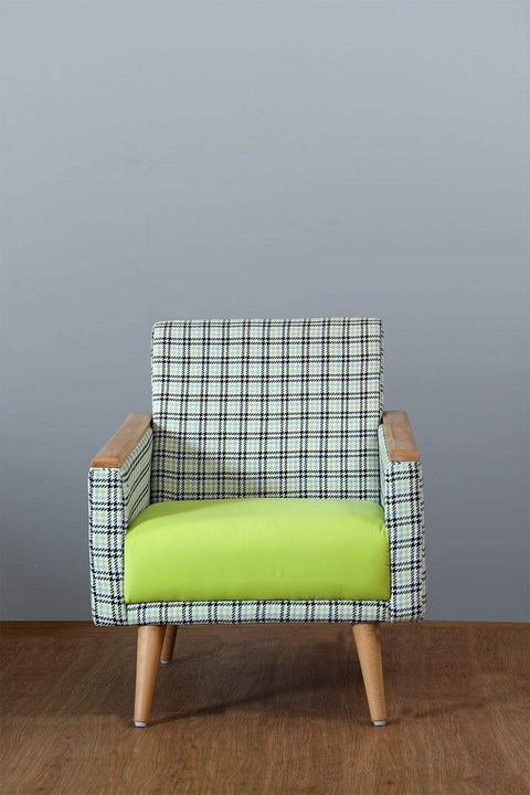 Houndstooth Tweed Upholstery (Grey/Lime)