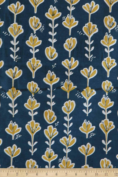 Cotton Duck Upholstery Fabric In Blue Shade And Screen Printed Design