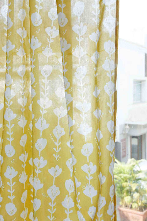 Cotton Voile Sheer Fabric And Curtains In Yellow Color And Screen Printed Style