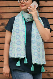 Cotton Voile Scarve In Mint Shade And Screen Printed Upcycled Design