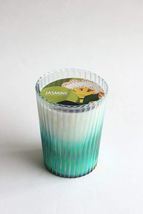 Glass & Wax Candle Glass In Rainbow Luster Color And Artisanal Scented Fragrance Design