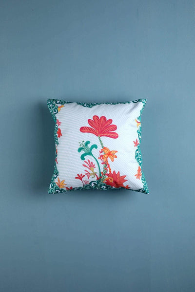 Cotton Satin Cushion Cover In Green Color And Digital Printed Style