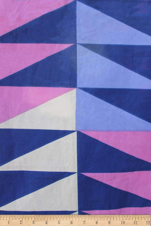 Cotton Sheeting Cotton Fabric And Curtains In Lapis Shade And Screen Printed Geometric Style