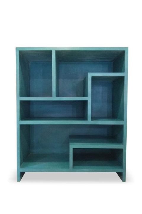 Mango Wood Bookshelf In Blue Color And Handcrafted Hardwood Design