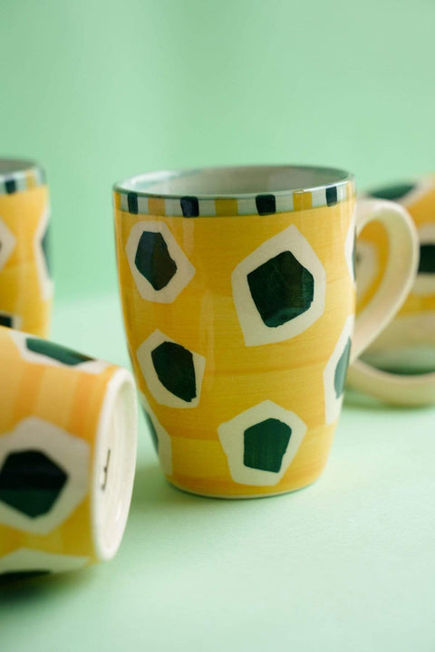 Buy Joyee Mustard/Peacock Blue Coffee Mug (Set Of 2) Online | Freedomtree.in