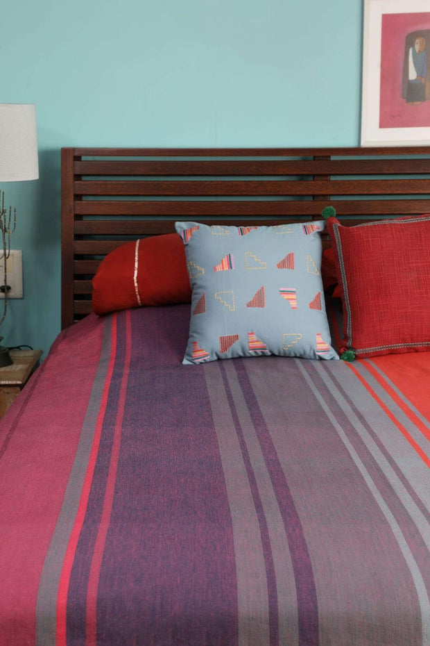 A Double Woven Cotton Bedcover In Multi-Colored Color And Handcrafted Woven Design
