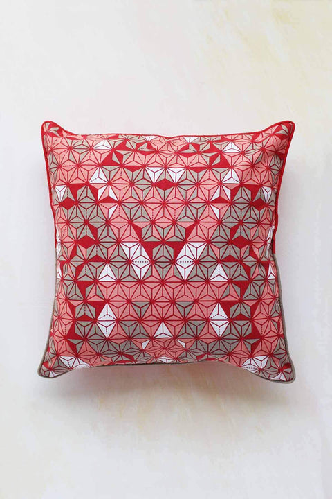 Cotton Duck Cushion Cover In Red Shade And Screen Printed Geometric Style