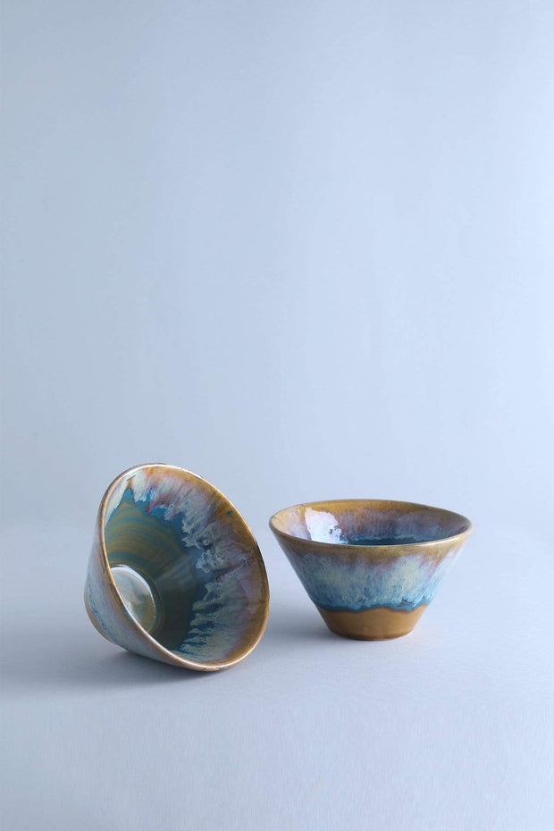 Ceramic Taper Bowl In Blue/Green Shade