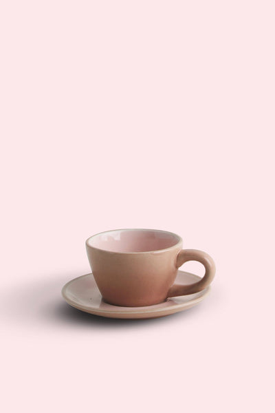 A Set Of 4 Ceramic Cup And Saucer In Pink Color