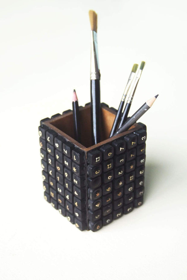 Repurposed Wood Pen Stand In Black Shade And Recycled Handcrafted Style