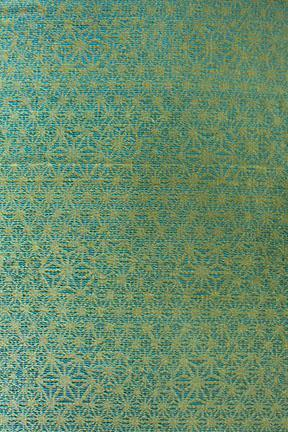 A Double Woven Cotton Bedcover In Blue/Lime Color And Screen Printed Geometric Abstract Style