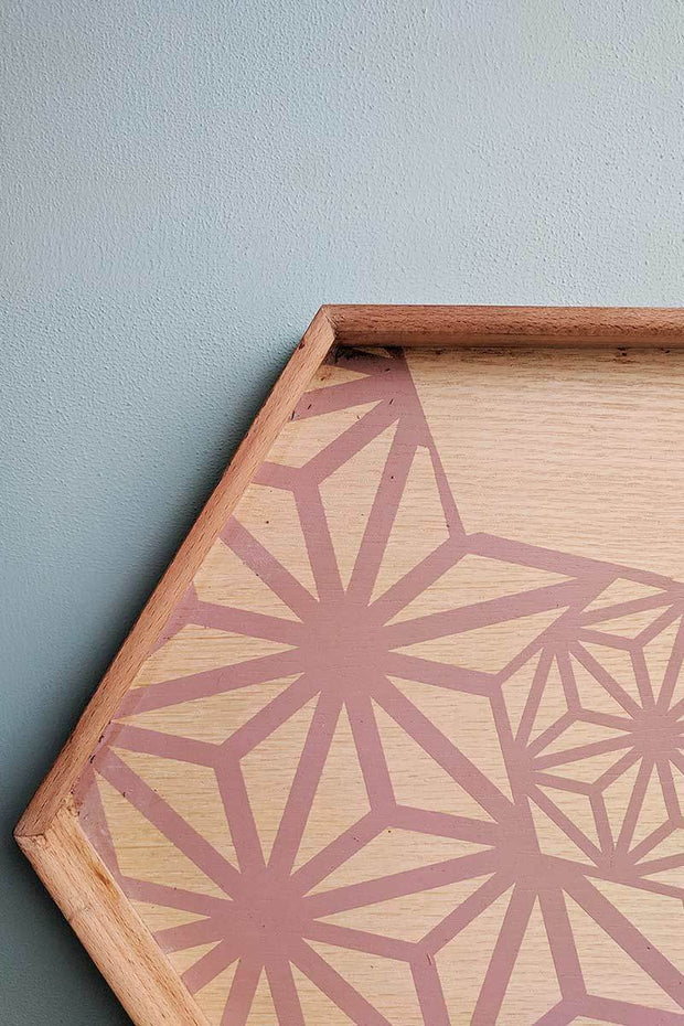 Wood Tray In Smoky Pink Color And Handcrafted Style