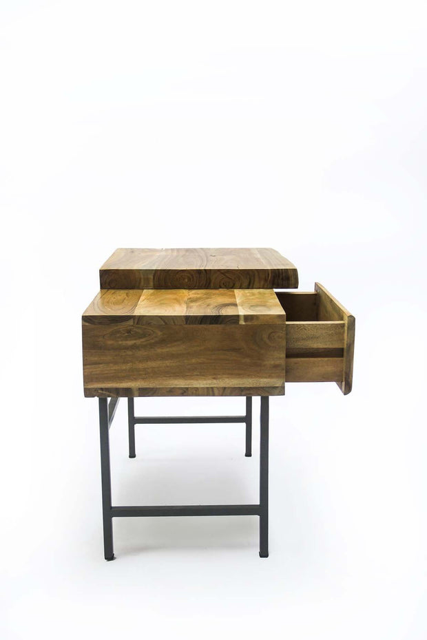 Acacia Bedside Table In Natural Color And Live Edge Natural Wood Design