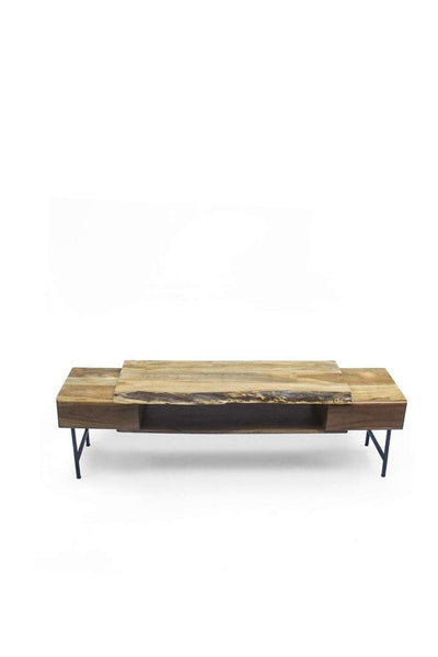 Acacia Tv Entertainment Unit In Natural Color And Live Edge Natural Wood Design