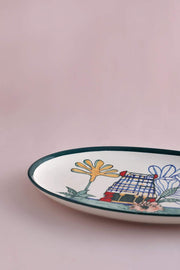Ceramic Oval Platter In Pastel Shade