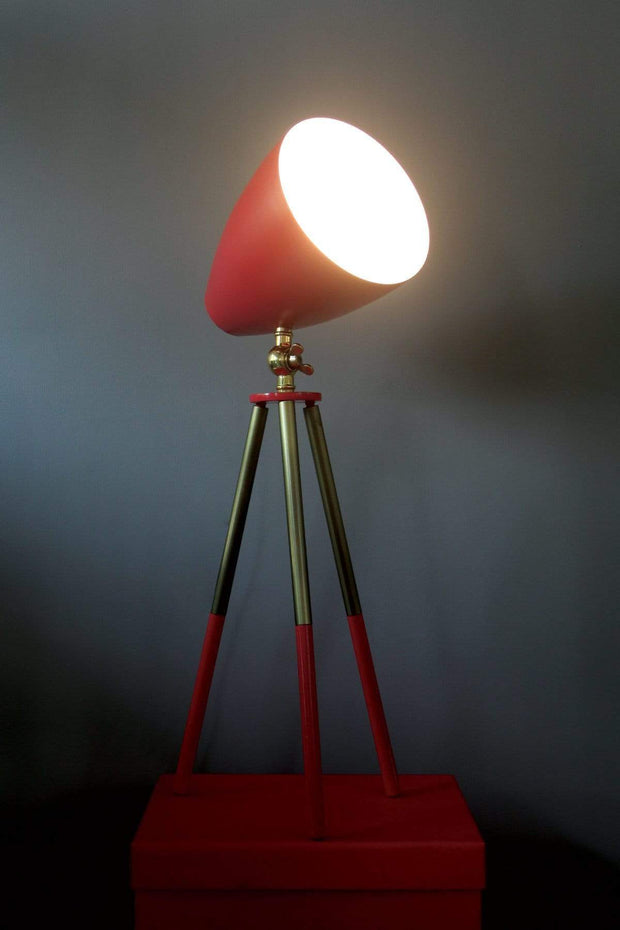 Metal Table Lamp In Red Shade And Industrial Design