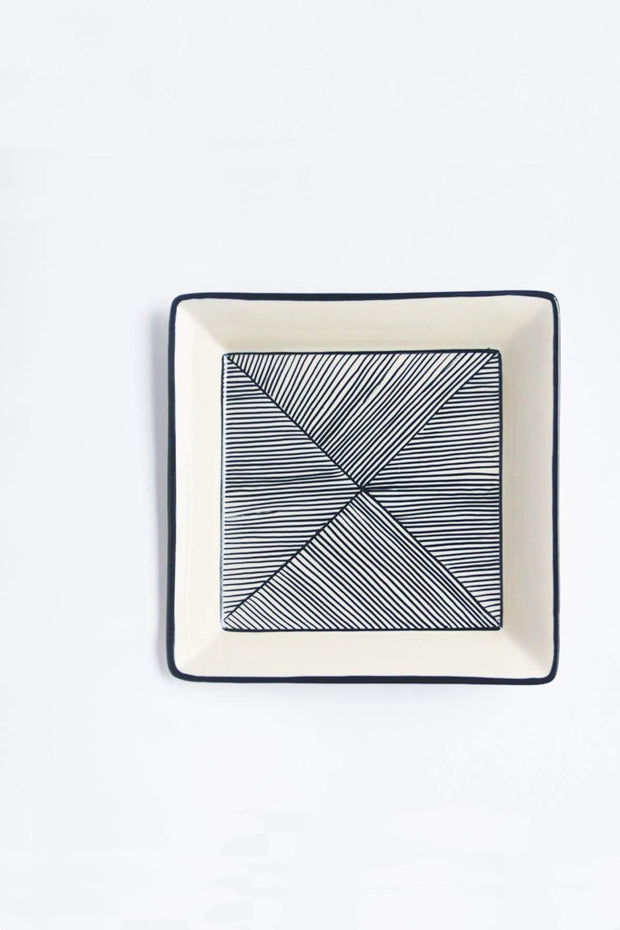 Ceramic Square Platter In Sapphire Blue Color And Hand Painted Design