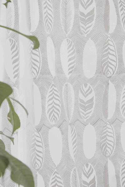 Cotton Voile Sheer Fabric And Curtains In Khadi Shade And Screen Printed Abstract Botanical Design