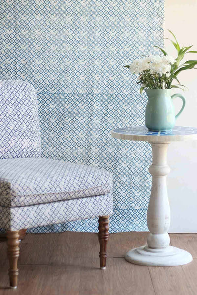 Cotton Duck Upholstery Fabric In Blue Color And Screen Printed Geometric Style