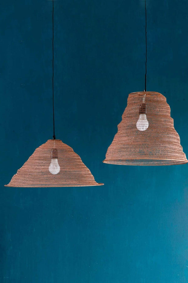 Metal Pendant Lamp In Metallic Shade And Handcrafted Industrial Style