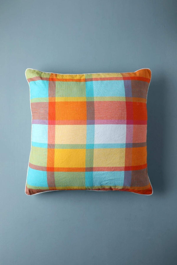 Woven Cotton Floor Cushion In Multi-Colored Shade And Handcrafted Woven Style