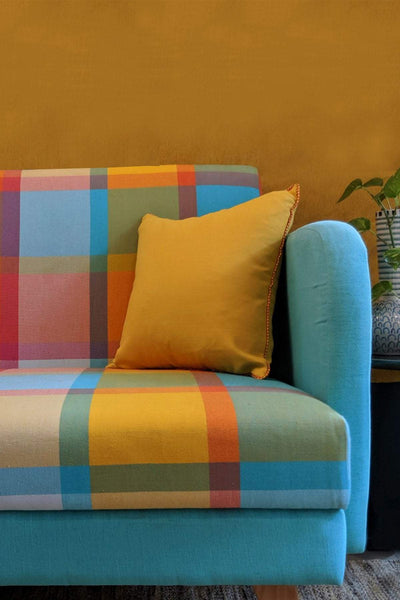 Woven Cotton Upholstery Fabric In Multi-Colored Shade And Handcrafted Woven Style