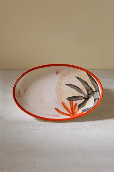 Ceramic Kebab Tray In Coral/Peach Shade And Handcrafted Design