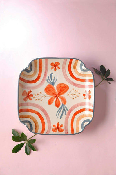 Ceramic Octagonal Platter In Coral/Peach Shade And Handcrafted Style