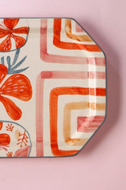 Ceramic Rectangular Platter In Pink/Grey Color And Handcrafted Style
