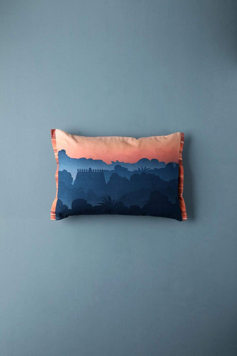 Slub Cushion Cover In Grey Color And Digital Printed Design