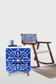 Wood & Inlay Bedside Table In Blue Shade And Handcrafted Style