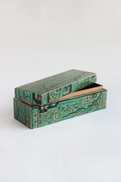 Wood Box In Green Color And Recycled Handcrafted Design