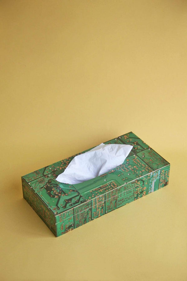 Recycled Wood Tissue Box In Green Shade And Recycled Handcrafted Style