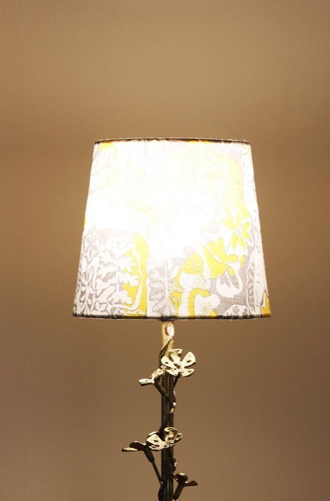 A Set Of Small Cotton Sheeting Taper Lampshade In Metallic Grey Color